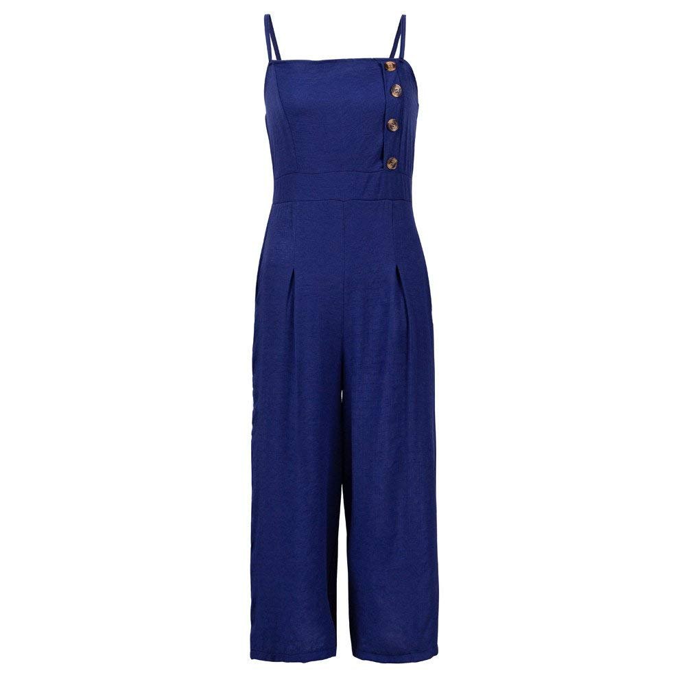 GWshop Ladies Fashion Elegant Jumpsuit Women Jumpsuits Elegant Wide Leg Sleeveless High Waisted Summer Pants Blue L by GWshop (Image #3)