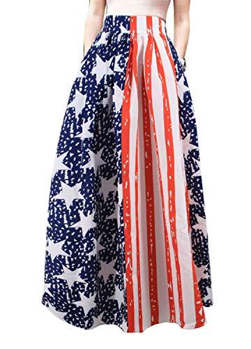 (Novia's Choice Women African Floral Print Pleated High Waist Maxi Casual A-Line Skirt(Star&Stripe S))