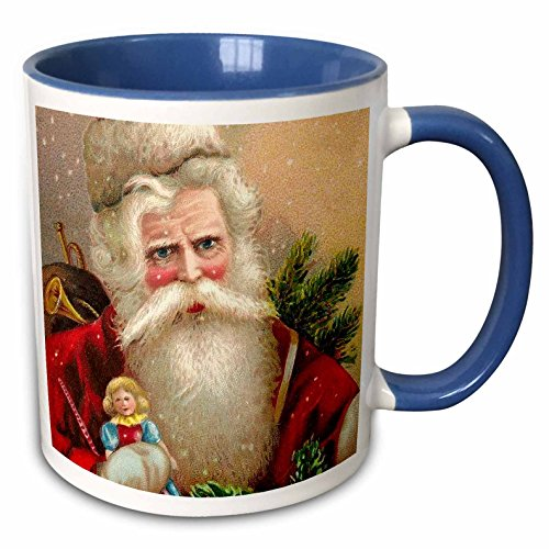 Doll Claus Vintage Santa - 3dRose VintageChest - Christmas - Vintage Santa Claus with Doll - 15oz Two-Tone Blue Mug (mug_171459_11)