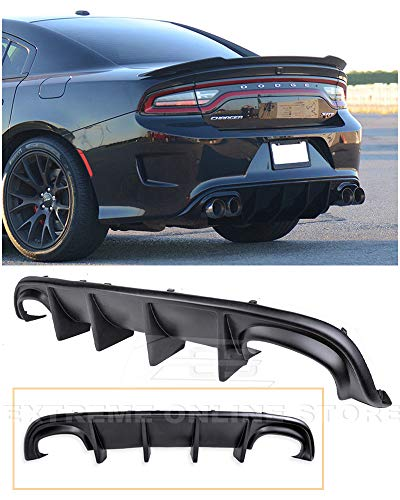 Extreme Online Store Replacement for 2015-Present Dodge Charger | SRT Factory Style Rear Bumper Quad Exhaust Fascia Air Diffuser