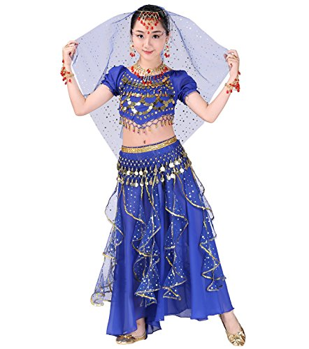 Astage Girl Belly Dance Kids Performance Indian Jewelry Costume All Ornaments Royal Blue - Kids Bollywood Costume