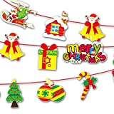 BOLUOYI Christmas Paperboard Pennant Flags Banners Hanging Buntings Garland Banner