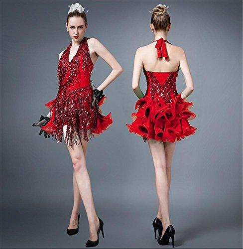 robe de latine de danse danse de jupe Femme red haut gamme wqUAtxPt