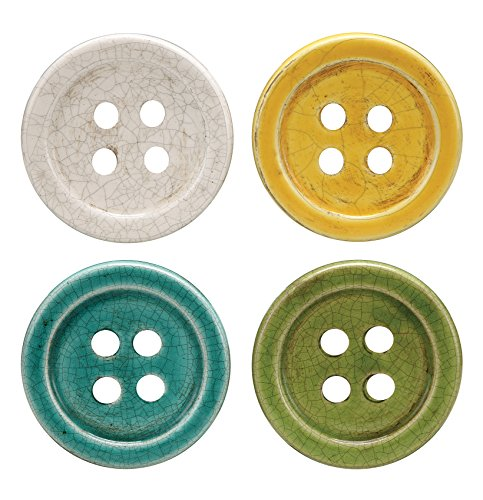 Creative Co Op Button Coaster Multicolored