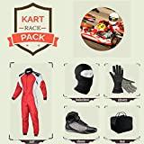 Sports Blue Go Kart Racing Suit Suit,Gloves,Balaclava and Shoes free bag - Red With White Side Style