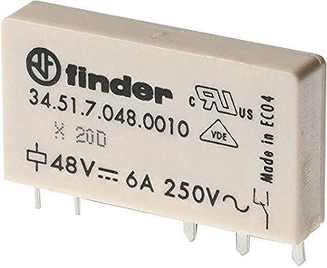 Finder serie 34 - Mini rele circuito impreso 5mm 1 contacto conmutado 24vdc