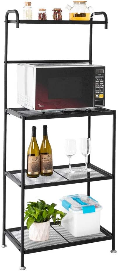 "ROVSUN Upgrade Multiuse 4-Tier Metal Kitchen Bakers Rack, Artisasset Microwave Storage Rack Oven Stand with Wine Storage Organizer Workstation Black (23.5"" x 14"" x 57"")"