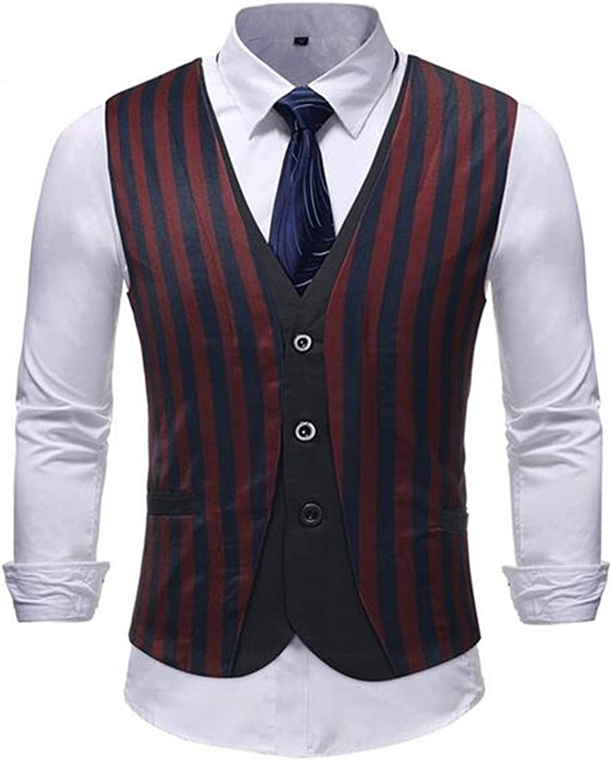 YUELANDE Men Slim Wedding Fake Two Vertical Stripes Premium Business Dress Suit Vests