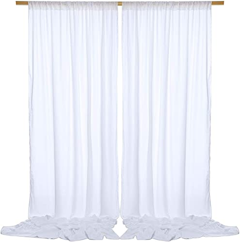 SHERWAY 2 Panels 4.9 Feet x 10 Feet White Thick Satin Backdrop Drapes, Non-Transparent Window Curtains for Wedding Party Ceremony Stage D cor