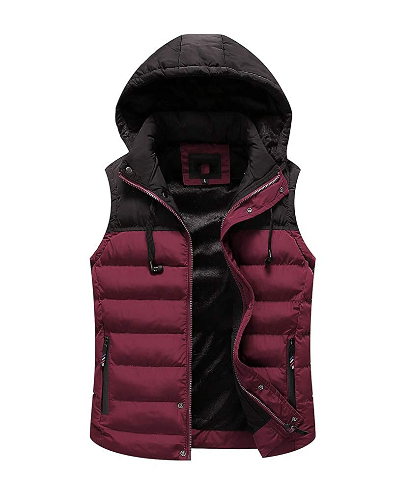DianShaoA Mens Hooded Gilet Sleeveless Body Warmers Padded Vest Jacket Coat Gilets with Pockets Quilted Bodywarmer Top