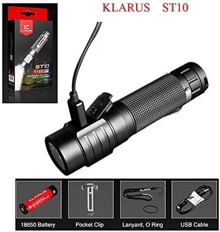 Klarus ST10 Lampe Torche LED 1100 Lumens CREE XM-L2 U2 USB Rechargeable Lampe de Poche 115 m/ètres 6 Modes Lumi/ère avec Batterie 18650 /Étanche IPX8 pour Ext/érieur Camping Randonn/ée P/êche