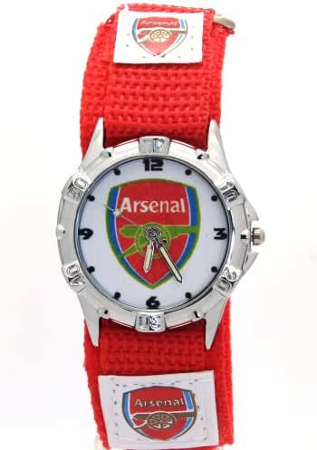 Timermall Arsenal FC Red Fabric Strap Analogue Sport Watch