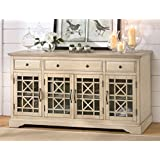 Jofran: 675-60, Craftsman, 60 Media Unit, 60 W X 19 D X 32 H, Antique Cream Finish, (Set of 1)