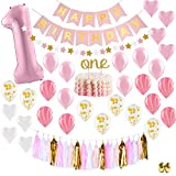 Baby Girl First Birthday Decorations - 1st Birthday Girl Decorations Pink and Gold Party Supplies - Happy First Birthday Banner, Number 1, Heart and Confetti Balloons, Premium ONE Cake Topper
