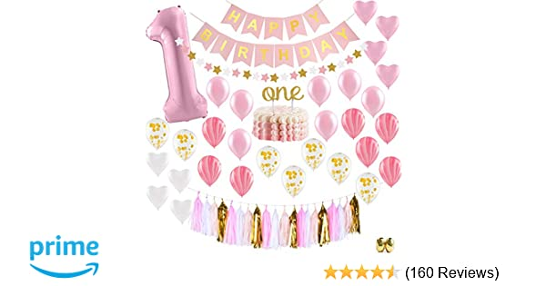Baby Girl First Birthday Decorations - 1st Birthday Girl Decorations Pink  and Gold Party Supplies - Happy First Birthday Banner aa701dfd5