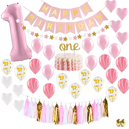 (Baby Girl First Birthday Decorations - 1st Birthday Girl Decorations Pink and Gold Party Supplies - Happy First Birthday Banner, Number 1, Heart and Confetti Balloons, Premium ONE Cake)