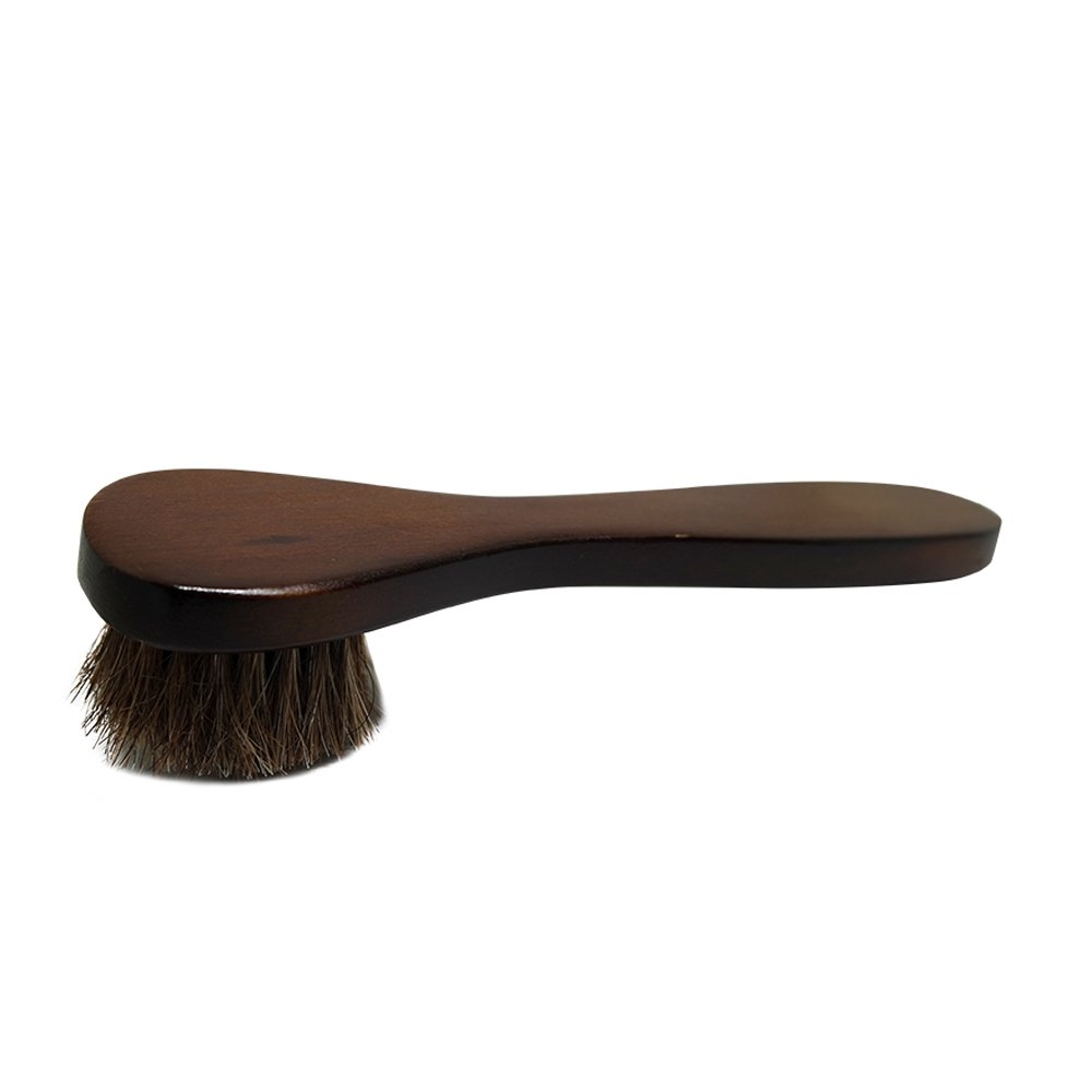 2PCS Polish Shoe Brush  ,  6.7'' Horse Shine Horsehair Brushes With Leather Dauber , Waterproofing Brown Cleaning Applicator Conditioner For Coats , Handbags ,  Purses ,  Briefcases ,  Saddles ,  Boot by ieasycan (Image #2)