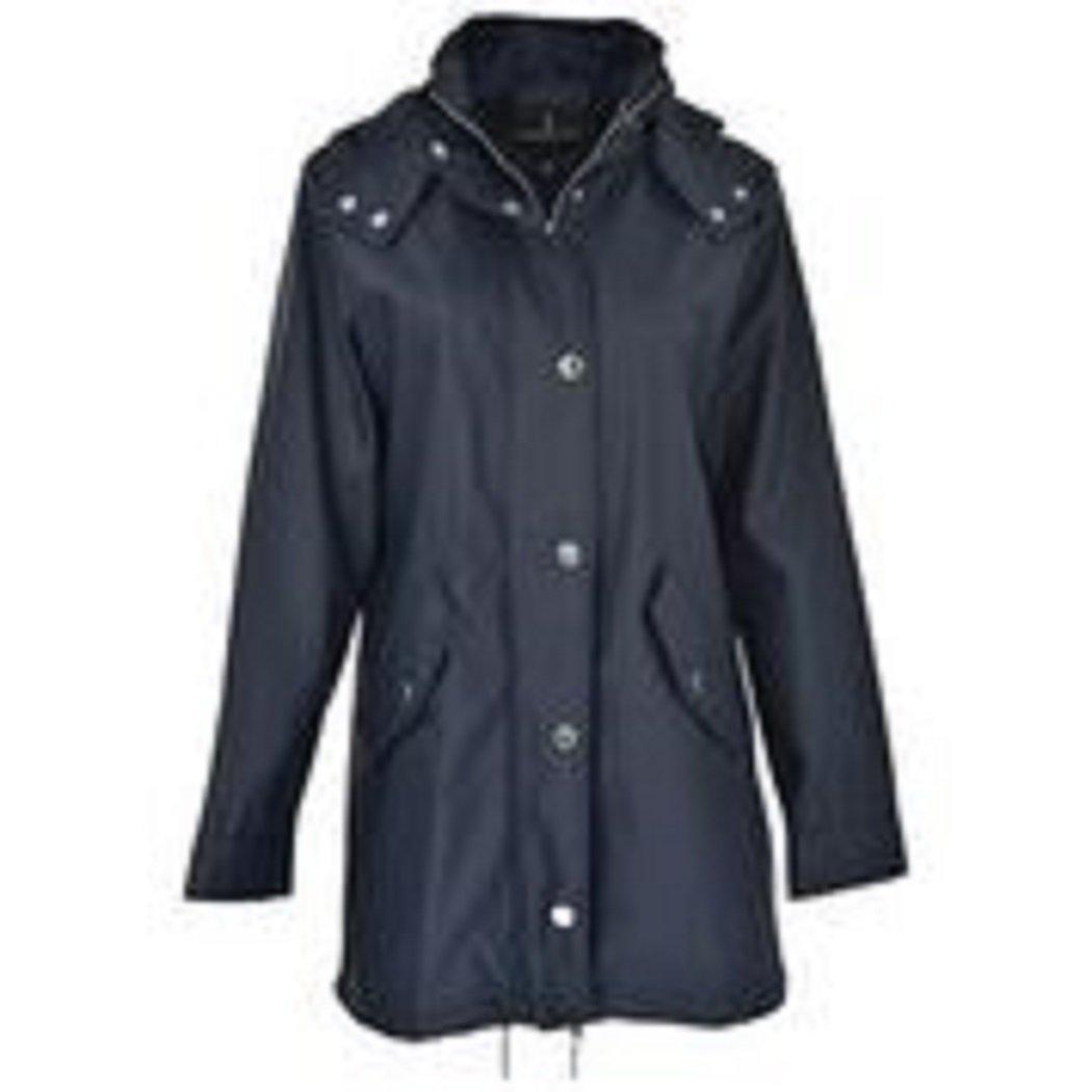 London Fog Ladies 'Loose Fit' Rain Slicker - Navy Blue, S