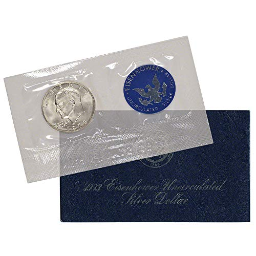 - 1973 S Blue Eisenhower Silver Dollar Coin $1 Uncirculated US Mint