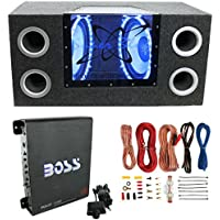 Pyramid BNPS102 10 1000W Dual Car Subwoofers + Box + 1100W Mono Amp + Amp Kit