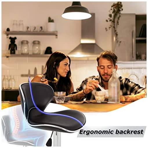 Kitchen Set of 2 Bar Stools, Counter Height Adjustable Bar Chairs with Back Barstools PU Leather Swivel Bar Stool Kitchen… modern barstools