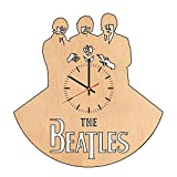 Beatles Rock Band natural wood wall clock - Get unique living room, bedroom wall decor - Gift ideas for girls, men and women - Unique Beatles Music Art - Leave us a feedback and win your custom clock