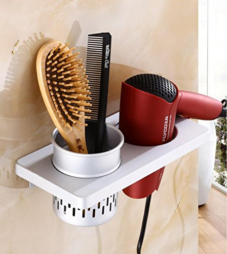 Hair Dryer Rack Space Aluminum Hair Dryer Holder, Wall Mount Spiral Spring Hair Dryer Hanging Rack With Hair Straightener Holder ( Color : C )