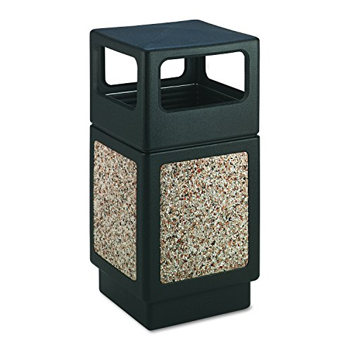 (Safco Products Canmeleon Outdoor/Indoor Aggregate Panel Trash Can 9472NC, Black, Natural Stone Panels, Outdoor/Indoor Use, 38-Gallon Capacity)