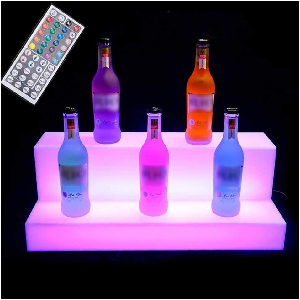 Acrylic LED Lighted Liquor Bottle Display 2 Step Illuminated Bar Bottle Shelf 2 Tier Commercial Home Bar Wine Rack Drinks Lighting Shelves Home Bar Lighting with Remote Control.