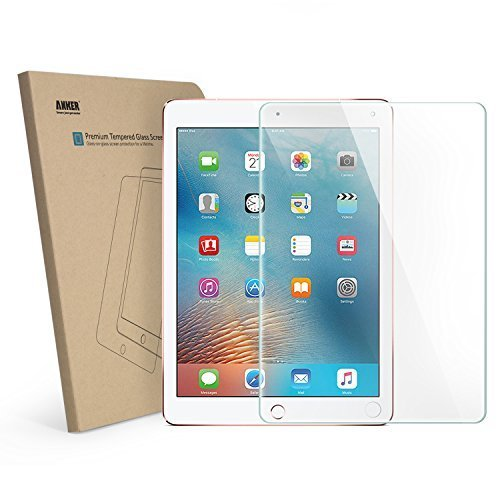 New iPad 9.7 in (2017) / iPad Air 2 / iPad Pro 9.7 in / iPad Air Screen Protector, Anker Tempered Glass Tablet Screen Protector with Retina Display, Anti-Scratch, Anti-Fingerprint, Easy Installation