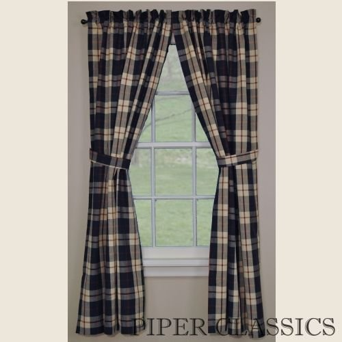 Freedom Collection Window Lined Curtain Panel Navy Cream Red Plaid Traditional Casual Country Home Décor