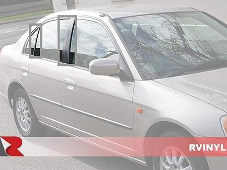 Brushed Black - Aluminum Rvinyl Rtrim Pillar Post Decal Trim for Honda Civic 1996-2000 Sedan