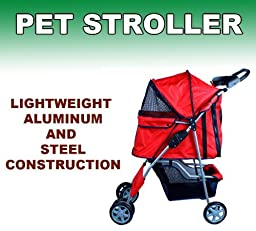 New Deluxe Folding 4 Wheel Pet Dog Cat Stroller Carrier w Cup Holder Tray (Red)