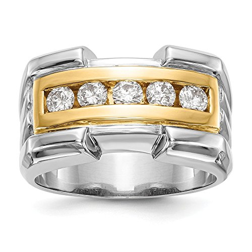JewelrySuperMart Collection 5/8 CT 14k Two-Tone AA Diamond Men's Band. 0.64 ctw.