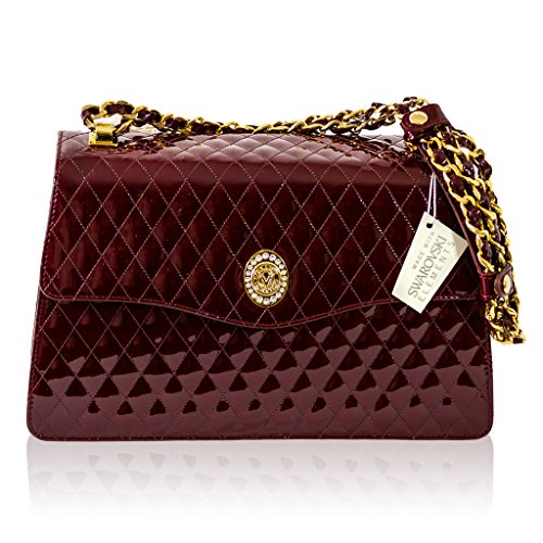 Designer Burgundy Orlandi Italian Leather Bag Valentino Messenger Quilted Purse qfpHE