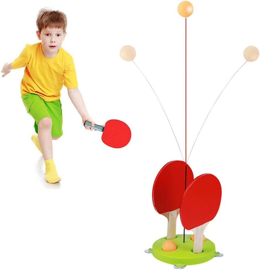 Entrenador de tenis de mesa con eje blando elástico, juego de equipo de entrenamiento de tenis de mesa, palos y pelotas de ping pong para niños principiantes Juego al aire libre en interiores