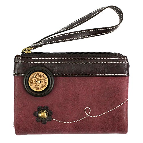 CHALA Double Zip Wallet - PU Leather Folding Wristlet - Burgundy - ()