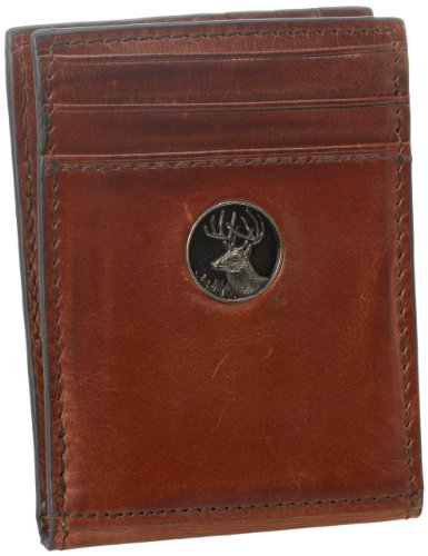 Weber's Leathers Men's Brown Front Pocket Wallet with Buck Concho, Brown, One Size Webers Leather