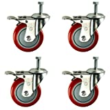 4 Inch Total Lock Caster - Red Polyurethane Wheel - 3/8