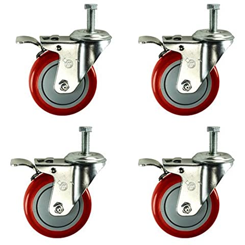 4 Inch Total Lock Caster - Red Polyurethane Wheel - 1/2