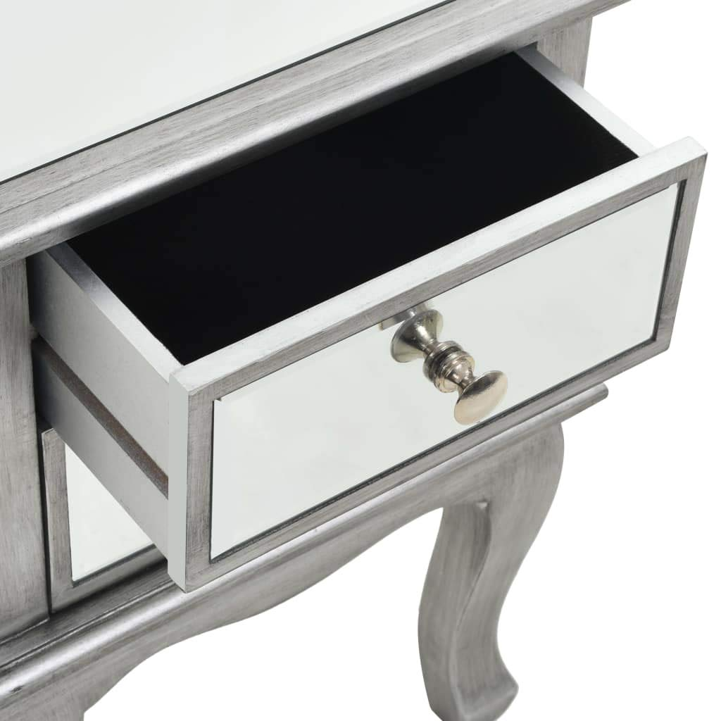 Tidyard Comodino Specchiato in MDF e Vetro,Comodino Porta Telefono con 2 Cassetti,Camera da Letto Comodino Moderno Design 34,5x30x50 cm