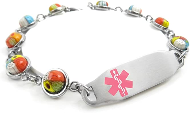 Red Millefiori Glass Pre-Engraved /& Customized Penicillin Allergy Alert Bracelet White My Identity Doctor Customized