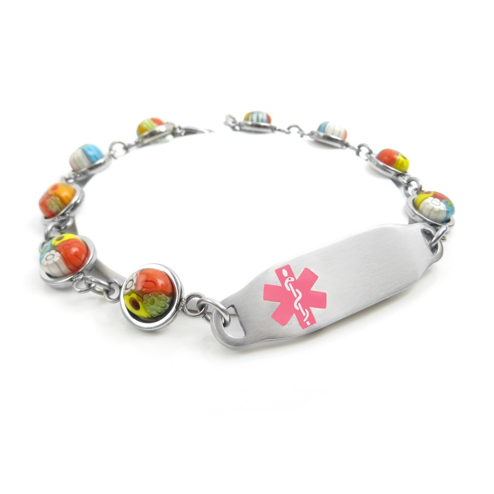 Millefiori Glass My Identity Doctor Pre-Engraved /& Customizable Celiac Disease Medical Bracelet Pattern Pink,