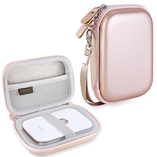 Canboc Shockproof Carrying Case Storage Travel Bag for HP Sprocket Portable Photo Printer and (2nd Edition) / Polaroid Zip Mobile Printer/Lifeprint 2x3 Portable Protective Pouch Box, Rose Gold ()