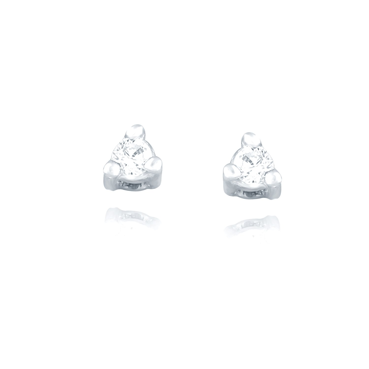 Giantti Silver Diamond Women's Stud Earring ( 0.1 Ct, VS Clarity, GH-Colour)