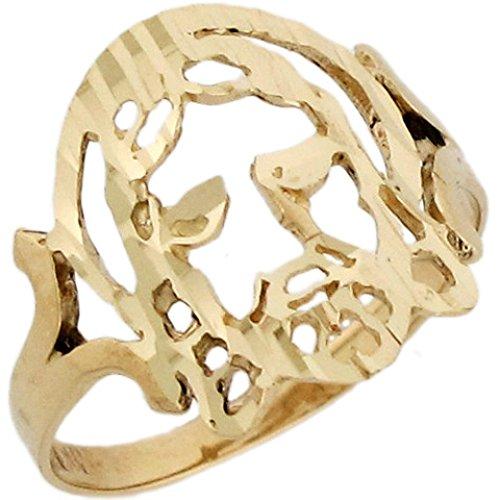 10k Yellow Real Gold Jesus Religious Diamond Cut 1.4cm Unisex Ring (Religious Ring 10k)