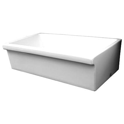 Whitehaus WHQ536 WHITE Farmhaus Quatro Alcove 36 Inch Reversible Fireclay  Sink With Apron
