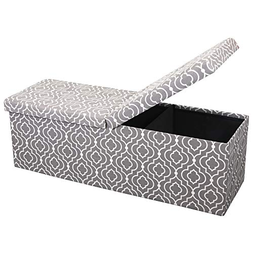 Otto & Ben 45″ Storage Folding Toy Box Chest with Smart Lift Top Mid Century Upholstered Ottomans Bench Foot Rest, Moroccan Grey Review