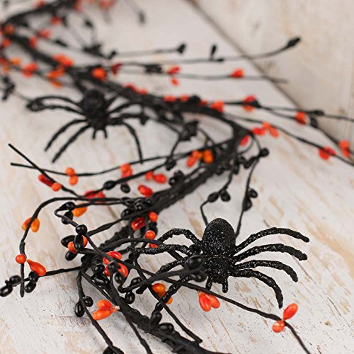 Factory Direct Craft 10 feet of Orange and Black Sparkling Pip Berry and Spooky Spider Garland for Decorating and Embellishing (Spider Garland)