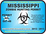 Mississippi zombie hunting permit decal bumper sticker